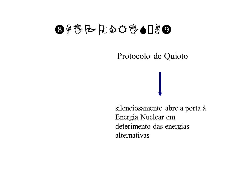 HIPOCRISÍA Protocolo de Quioto silenciosamente abre a porta à Energia Nuclear em deterimento das energias alternativas