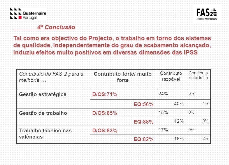 4ª Conclusão Tal como era objectivo do Projecto, o trabalho em torno dos sistemas de qualidade, independentemente do grau de acabamento alcançado, ind