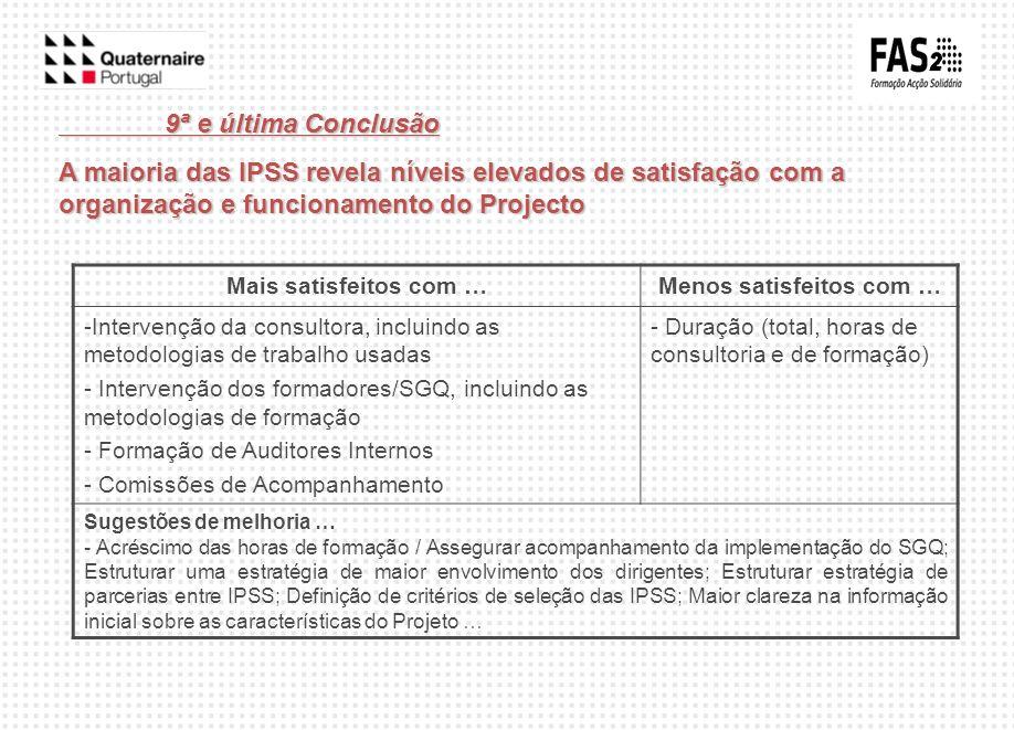 9ª e última Conclusão A maioria das IPSS revela níveis elevados de satisfação com a organização e funcionamento do Projecto Mais satisfeitos com …Meno