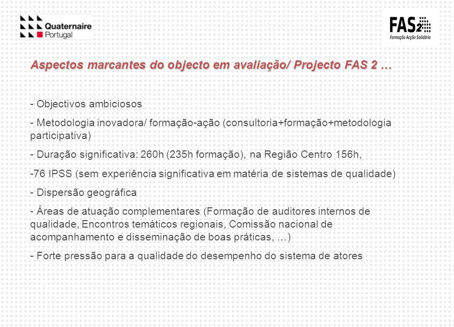 Aspectos marcantes do objecto em avaliação/ Projecto FAS 2 … - Objectivos ambiciosos - Metodologia inovadora/ formação-ação (consultoria+formação+meto