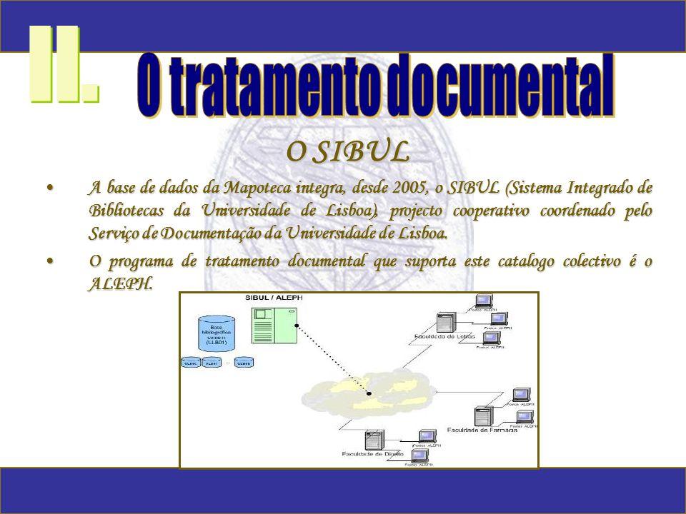 O SIBUL A base de dados da Mapoteca integra, desde 2005, o SIBUL (Sistema Integrado de Bibliotecas da Universidade de Lisboa), projecto cooperativo co