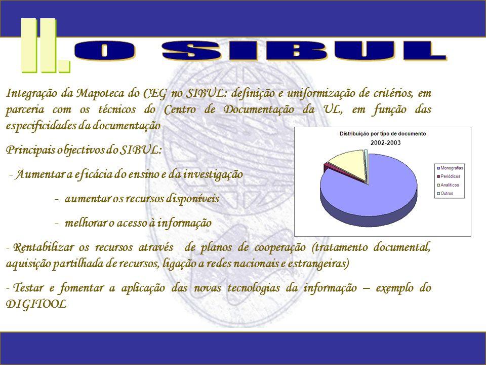 Integração da Mapoteca do CEG no SIBUL: definição e uniformização de critérios, em parceria com os técnicos do Centro de Documentação da UL, em função
