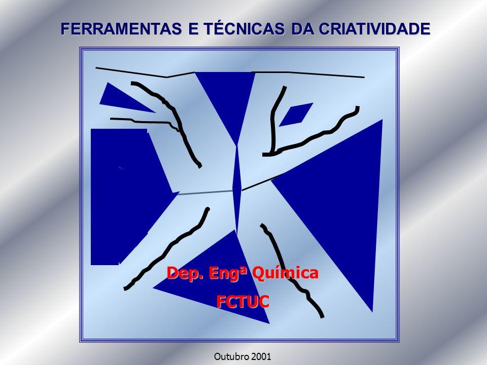 FERRAMENTAS E TÉCNICAS DA CRIATIVIDADE Dep. Engª Química FCTUC Outubro 2001