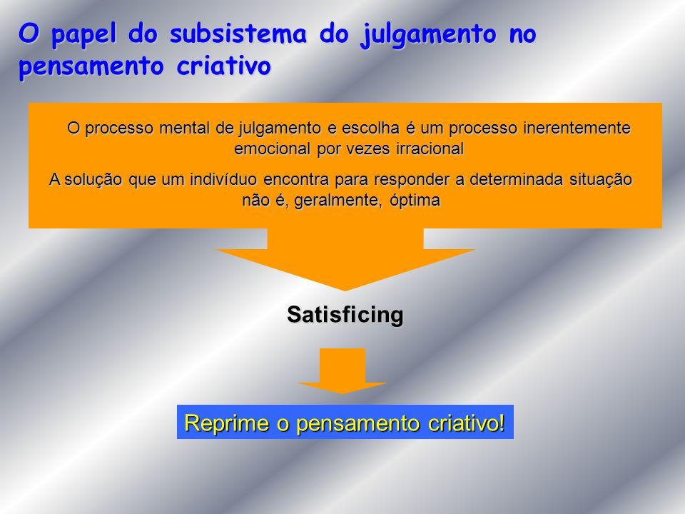 O papel do subsistema do julgamento no pensamento criativo O processo mental de julgamento e escolha é um processo inerentemente emocional por vezes i