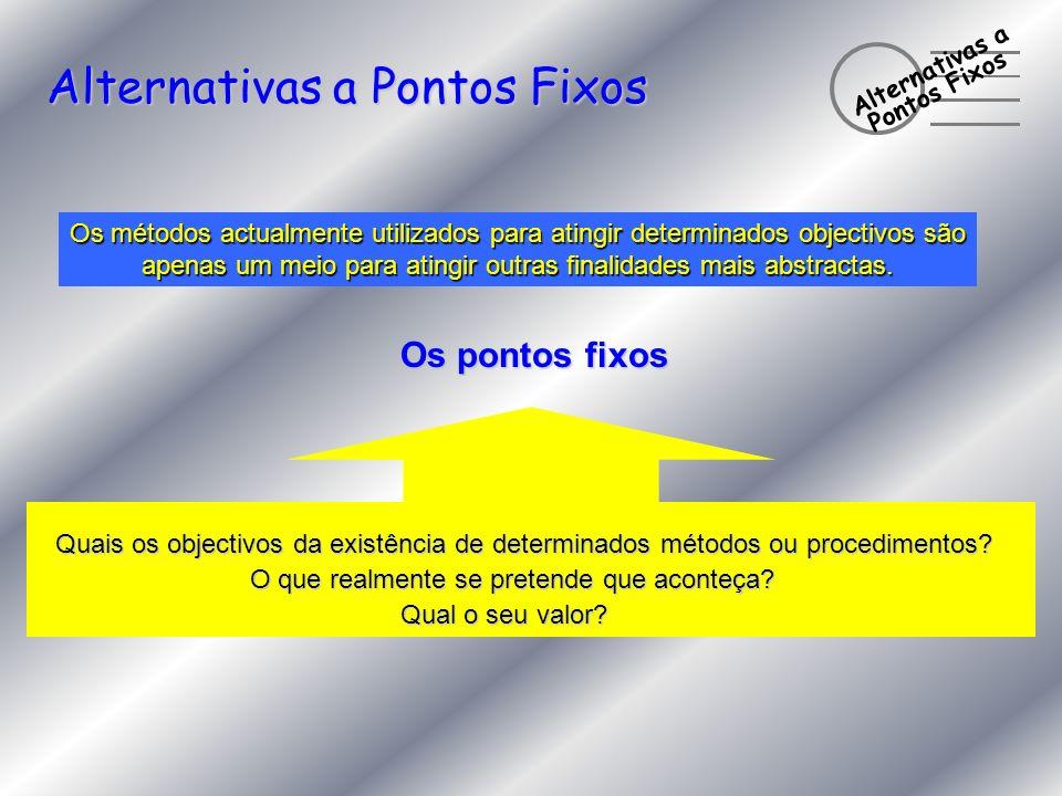 Alternativas a Pontos Fixos Alternativas a Pontos Fixos Os métodos actualmente utilizados para atingir determinados objectivos são apenas um meio para