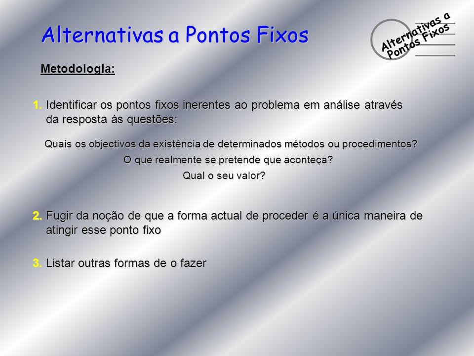 Alternativas a Pontos Fixos Metodologia: 1. Identificar os pontos fixos inerentes ao problema em análise através da resposta às questões: da resposta