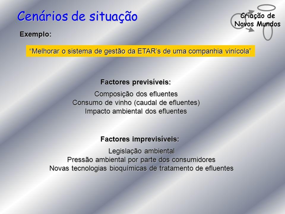 Criação de Novos Mundos Cenários de situação Exemplo: Melhorar o sistema de gestão da ETARs de uma companhia vinícola Composição dos efluentes Consumo