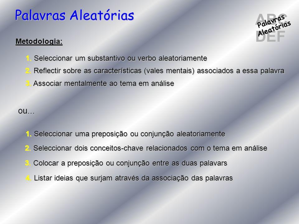 ABC DEF Palavras Aleatórias Palavras Aleatórias Metodologia: 1. Seleccionar um substantivo ou verbo aleatoriamente 2. Reflectir sobre as característic
