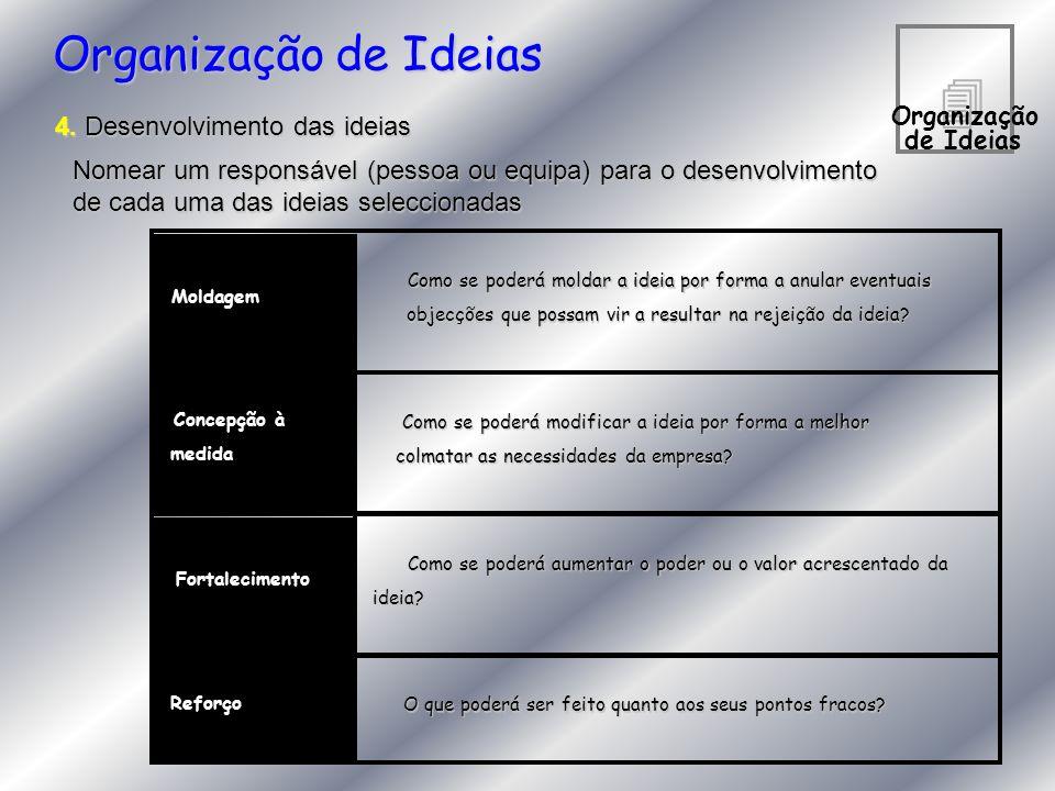 4 Organização de Ideias 4. Desenvolvimento das ideias Nomear um responsável (pessoa ou equipa) para o desenvolvimento de cada uma das ideias seleccion