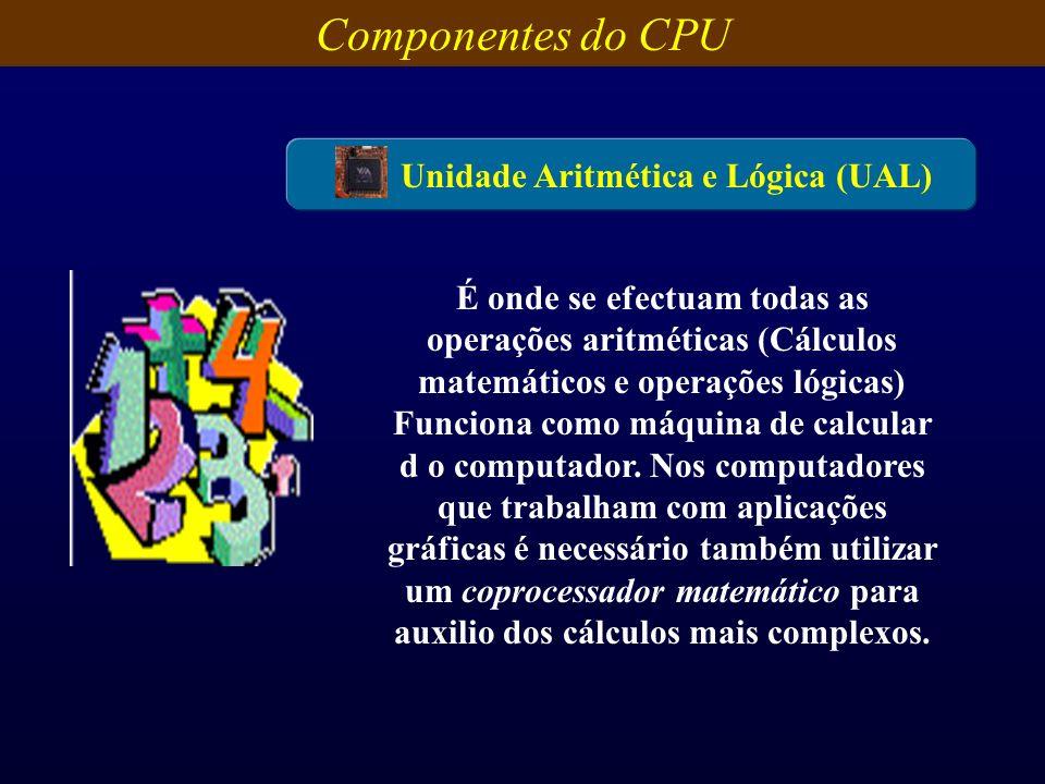 Componentes do CPU Unidade Aritmética e Lógica (UAL) É onde se efectuam todas as operações aritméticas (Cálculos matemáticos e operações lógicas) Func