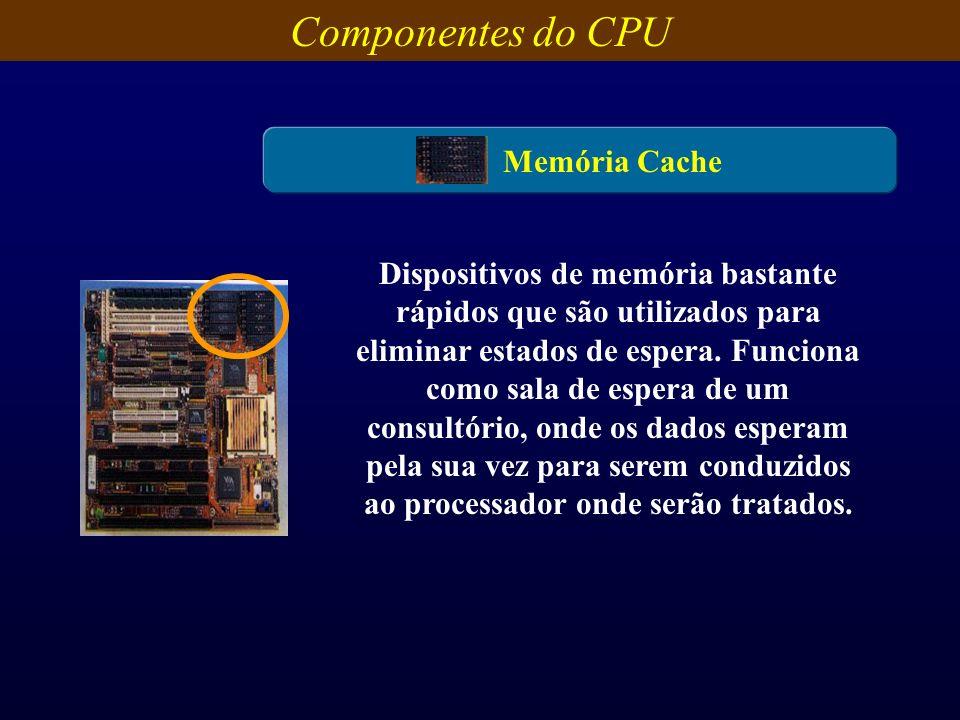 Componentes do CPU Memória Cache Dispositivos de memória bastante rápidos que são utilizados para eliminar estados de espera. Funciona como sala de es