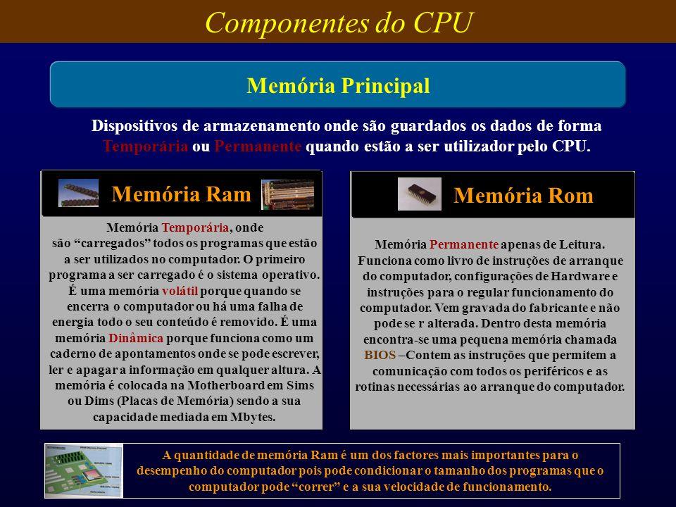 Componentes do CPU Memória Principal Dispositivos de armazenamento onde são guardados os dados de forma Temporária ou Permanente quando estão a ser ut