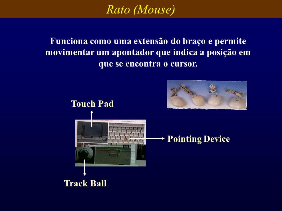 Rato (Mouse) Funciona como uma extensão do braço e permite movimentar um apontador que indica a posição em que se encontra o cursor. Pointing Device T