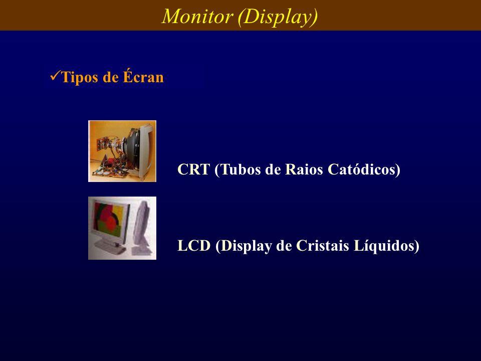 Monitor (Display) CRT (Tubos de Raios Catódicos) LCD (Display de Cristais Líquidos) Tipos de Écran