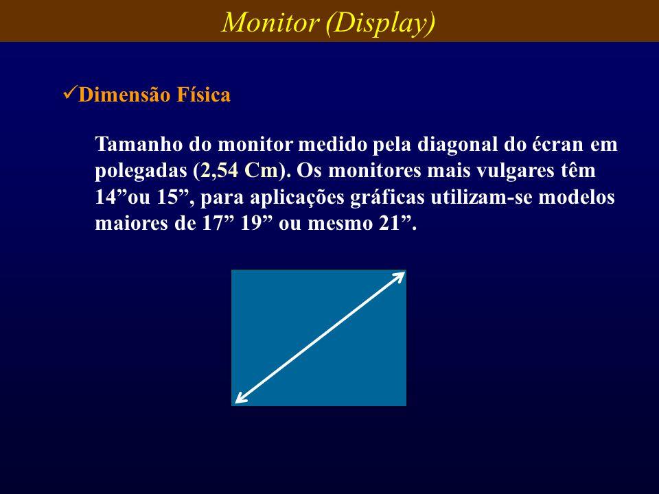 Tamanho do monitor medido pela diagonal do écran em polegadas (2,54 Cm). Os monitores mais vulgares têm 14ou 15, para aplicações gráficas utilizam-se