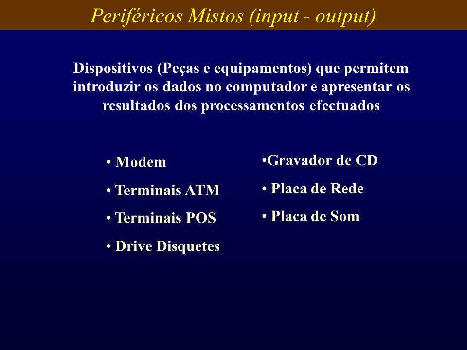Periféricos Mistos (input - output) Dispositivos (Peças e equipamentos) que permitem introduzir os dados no computador e apresentar os resultados dos