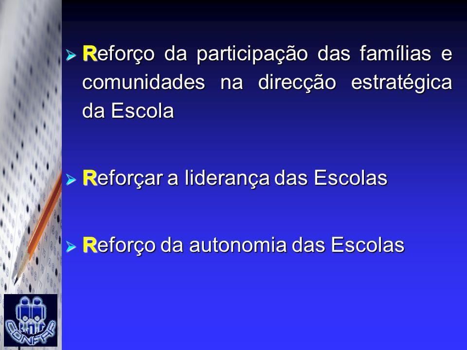 Reforço da participação das famílias e comunidades na direcção estratégica da Escola Reforço da participação das famílias e comunidades na direcção es