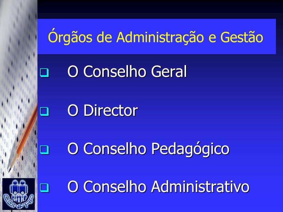 Órgãos de Administração e Gestão O Conselho Geral O Conselho Geral O Director O Director O Conselho Pedagógico O Conselho Pedagógico O Conselho Admini