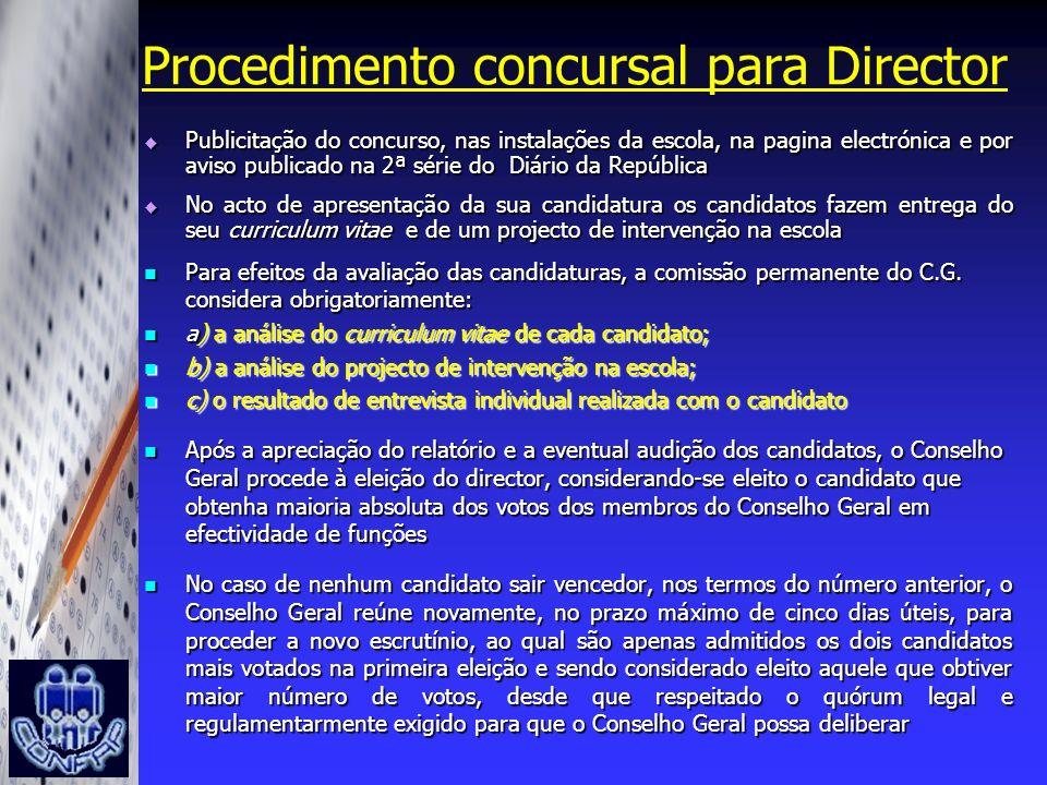 Procedimento concursal para Director Publicitação do concurso, nas instalações da escola, na pagina electrónica e por aviso publicado na 2ª série do D