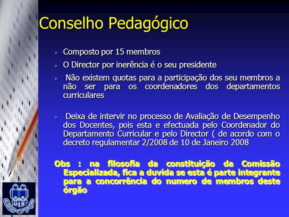 Conselho Pedagógico Composto por 15 membros Composto por 15 membros O Director por inerência é o seu presidente O Director por inerência é o seu presi