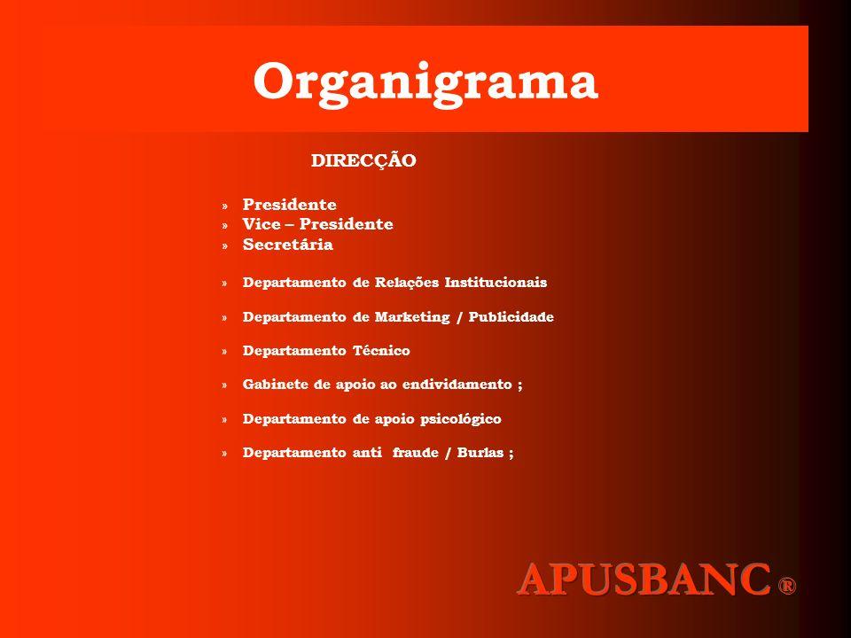 DIRECÇÃO A Direcção da Apusbanc Consumo, é representada pelo seu Presidente ; Compete à Direcção, a gestão administrativa e financeira, bem como a representação da Associação ; As atribuições especificas da Direcção, são matéria do Regulamento Interno da Associação, aprovado em Assembleia Geral ;