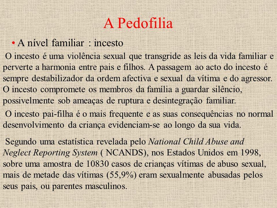 A Pedofilia A nível familiar : incesto O incesto é uma violência sexual que transgride as leis da vida familiar e perverte a harmonia entre pais e fil
