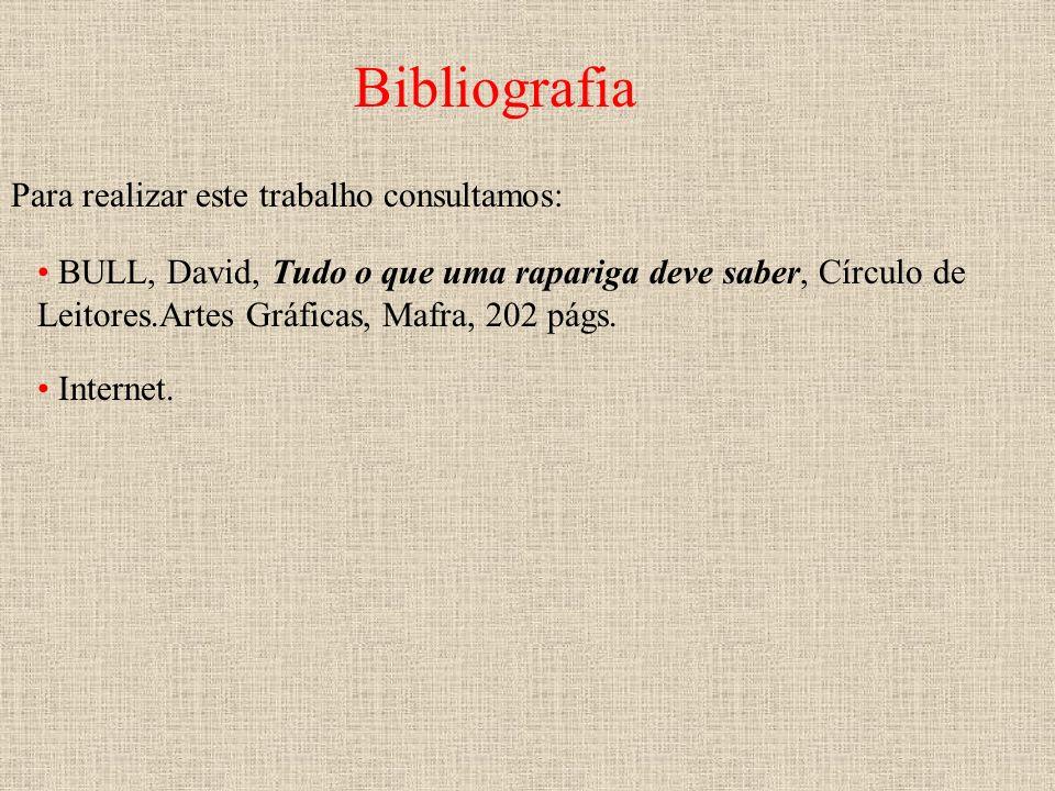 Bibliografia BULL, David, Tudo o que uma rapariga deve saber, Círculo de Leitores.Artes Gráficas, Mafra, 202 págs. Para realizar este trabalho consult