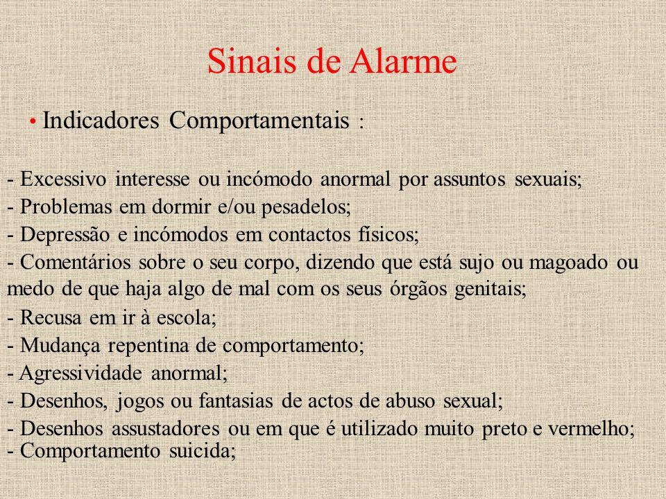 Sinais de Alarme Indicadores Comportamentais : - Excessivo interesse ou incómodo anormal por assuntos sexuais; - Problemas em dormir e/ou pesadelos; -
