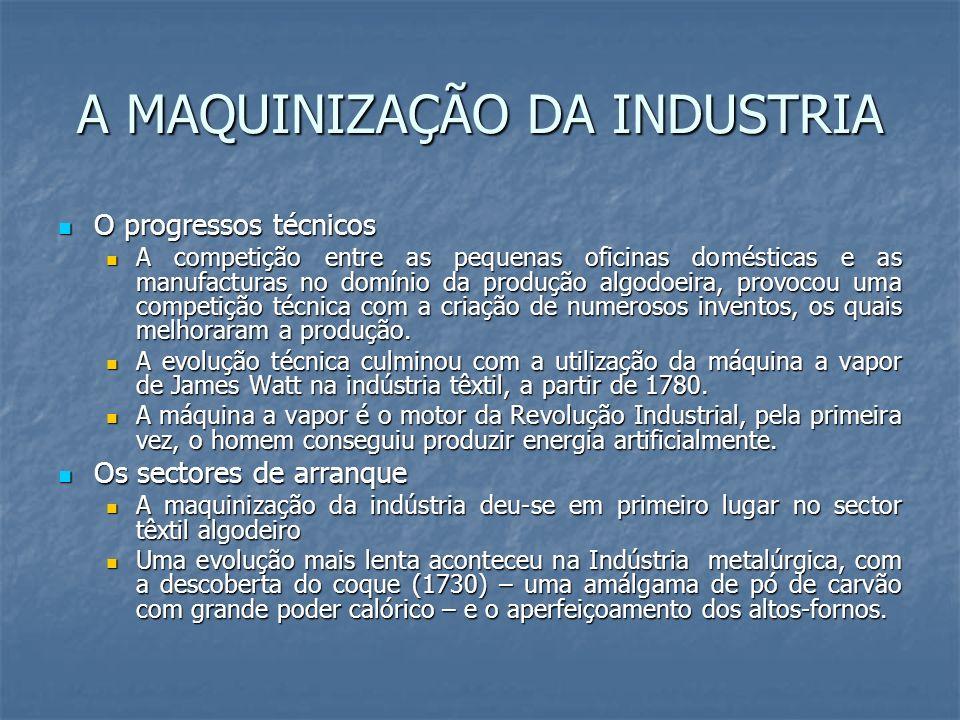 A MAQUINIZAÇÃO DA INDUSTRIA O progressos técnicos O progressos técnicos A competição entre as pequenas oficinas domésticas e as manufacturas no domíni