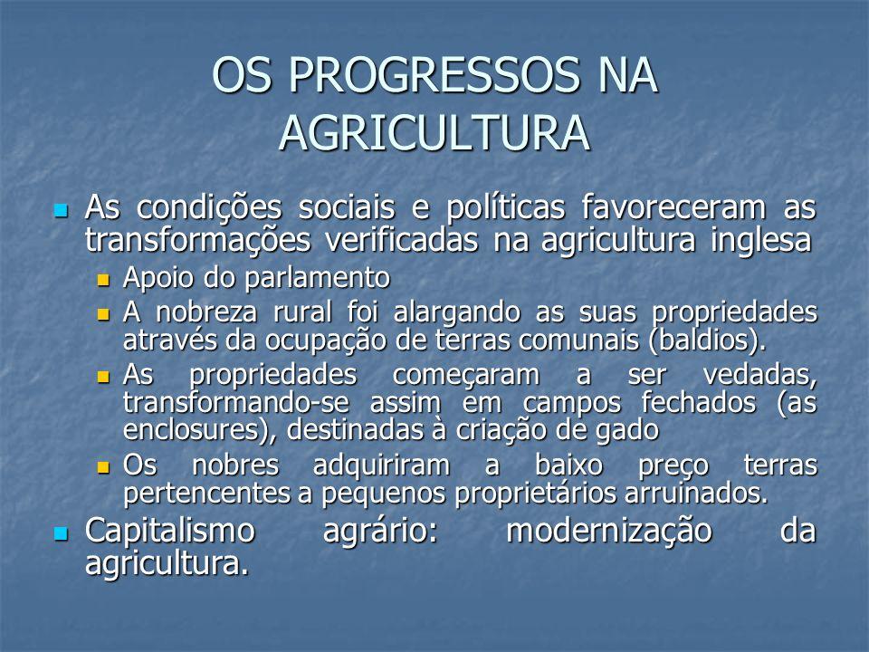 OS PROGRESSOS NA AGRICULTURA As condições sociais e políticas favoreceram as transformações verificadas na agricultura inglesa As condições sociais e