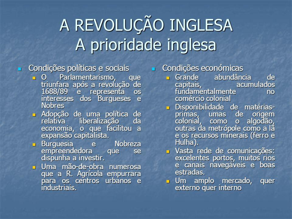 A REVOLUÇÃO INGLESA A prioridade inglesa Condições políticas e sociais Condições políticas e sociais O Parlamentarismo, que triunfara após a revolução