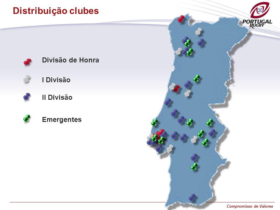 Compromisso de Valores Distribuição clubes Divisão de Honra I Divisão II Divisão Emergentes