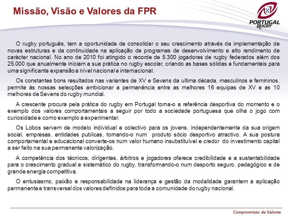 Compromisso de Valores O rugby português, tem a oportunidade de consolidar o seu crescimento através da implementação de novas estruturas e da continu