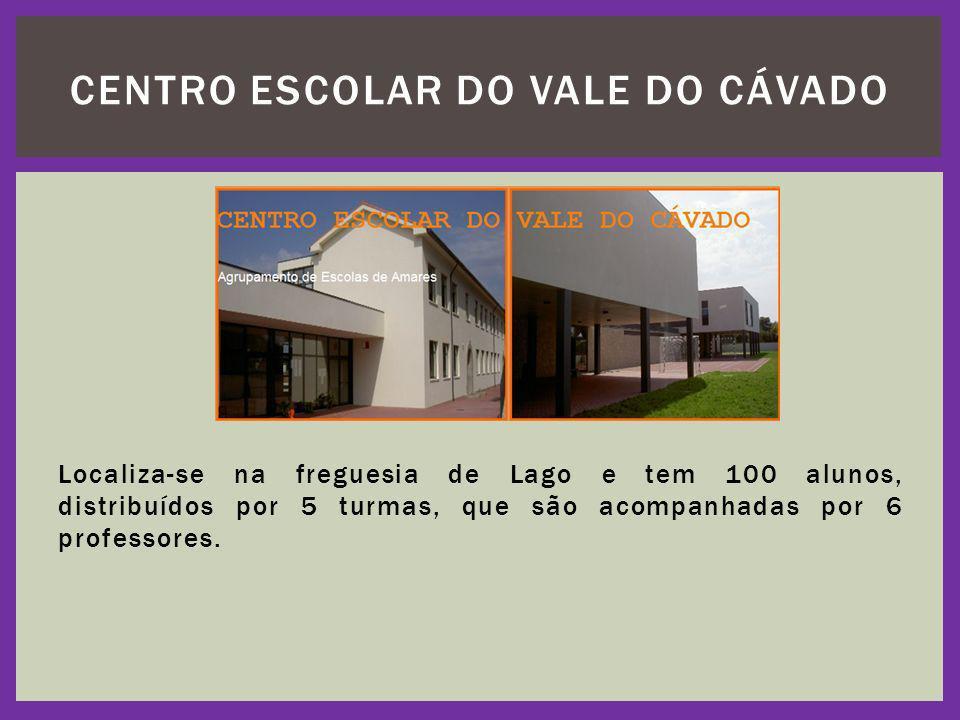 Localiza-se na freguesia de Lago e tem 100 alunos, distribuídos por 5 turmas, que são acompanhadas por 6 professores. CENTRO ESCOLAR DO VALE DO CÁVADO