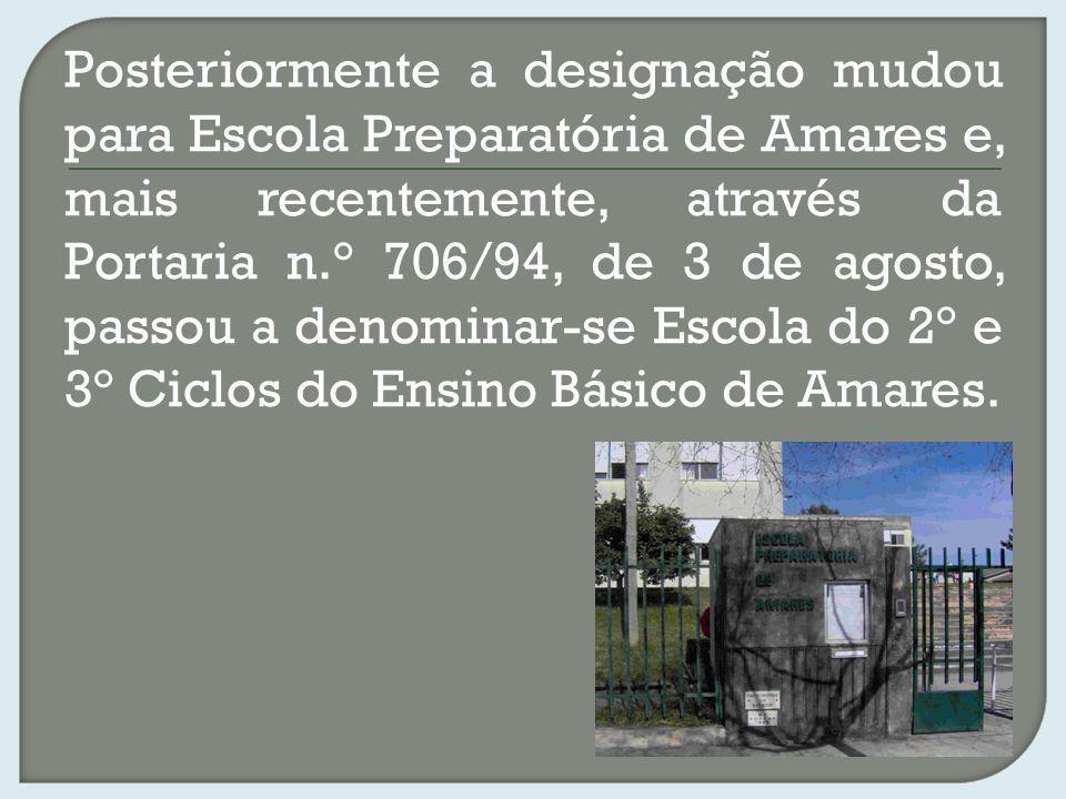 Posteriormente a designação mudou para Escola Preparatória de Amares e, mais recentemente, através da Portaria n.° 706/94, de 3 de agosto, passou a de