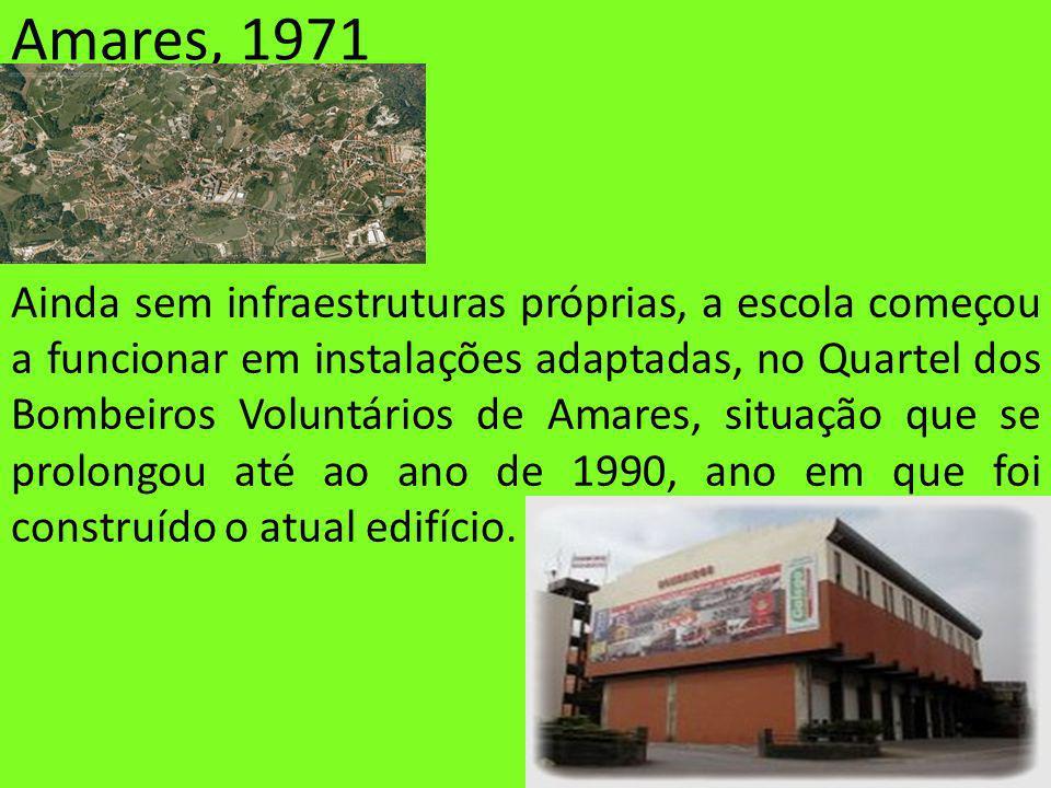 Amares, 1971 Ainda sem infraestruturas próprias, a escola começou a funcionar em instalações adaptadas, no Quartel dos Bombeiros Voluntários de Amares