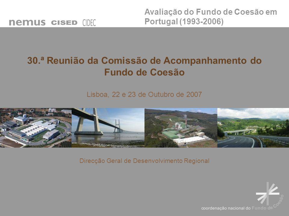 Estrutura Volume I – Sumário executivo Volume II – Relatório Final Volume III – Estudos de Caso: T1 – Transportes; T2 - Ambiente Componentes de avaliação Análise extensiva Estudos de caso (50) Elaboração Agosto de 2006 a Outubro de 2007 Avaliação do Fundo de Coesão em Portugal