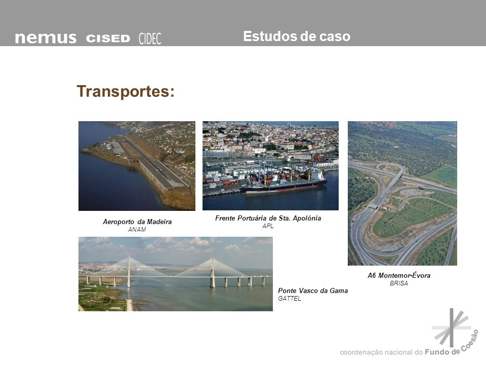 Estudos de caso Aeroporto da Madeira ANAM Frente Portuária de Sta. Apolónia APL A6 Montemor-Évora BRISA Ponte Vasco da Gama GATTEL Transportes: