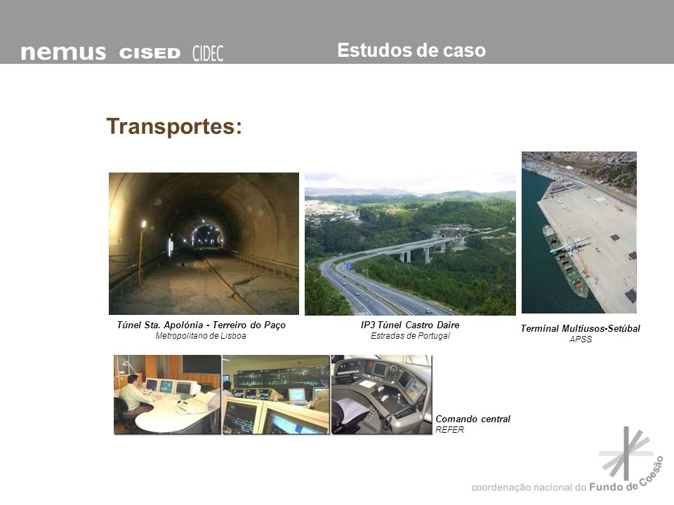 Estudos de caso Transportes: IP3 Túnel Castro Daire Estradas de Portugal Túnel Sta. Apolónia - Terreiro do Paço Metropolitano de Lisboa Comando centra