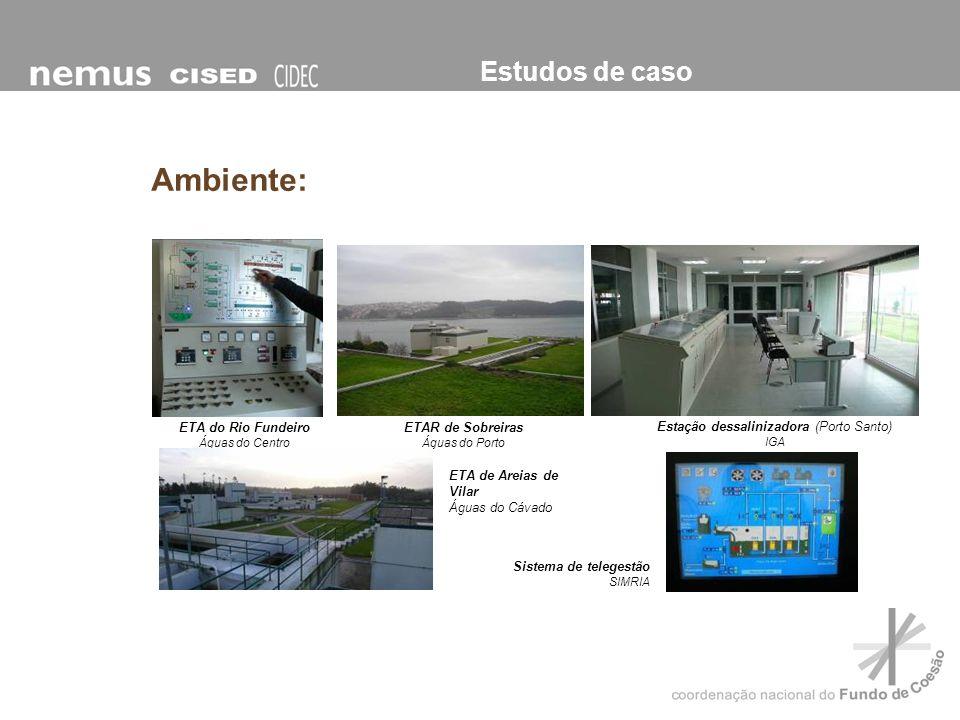 Estudos de caso Ambiente: ETAR de Sobreiras Águas do Porto Sistema de telegestão SIMRIA ETA do Rio Fundeiro Águas do Centro Estação dessalinizadora (P