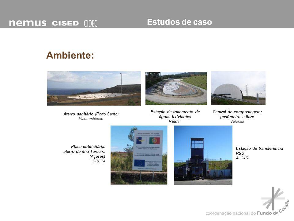 Estudos de caso Ambiente: Estação de transferência RSU ALGAR Placa publicitária: aterro da ilha Terceira (Açores) DREPA Aterro sanitário (Porto Santo)