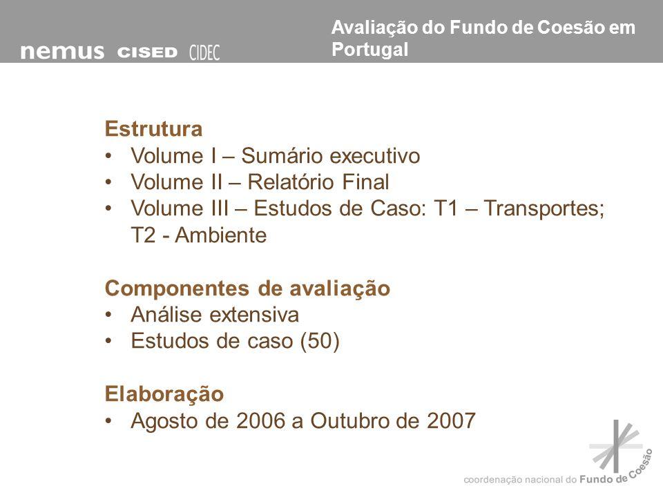 Estrutura Volume I – Sumário executivo Volume II – Relatório Final Volume III – Estudos de Caso: T1 – Transportes; T2 - Ambiente Componentes de avalia