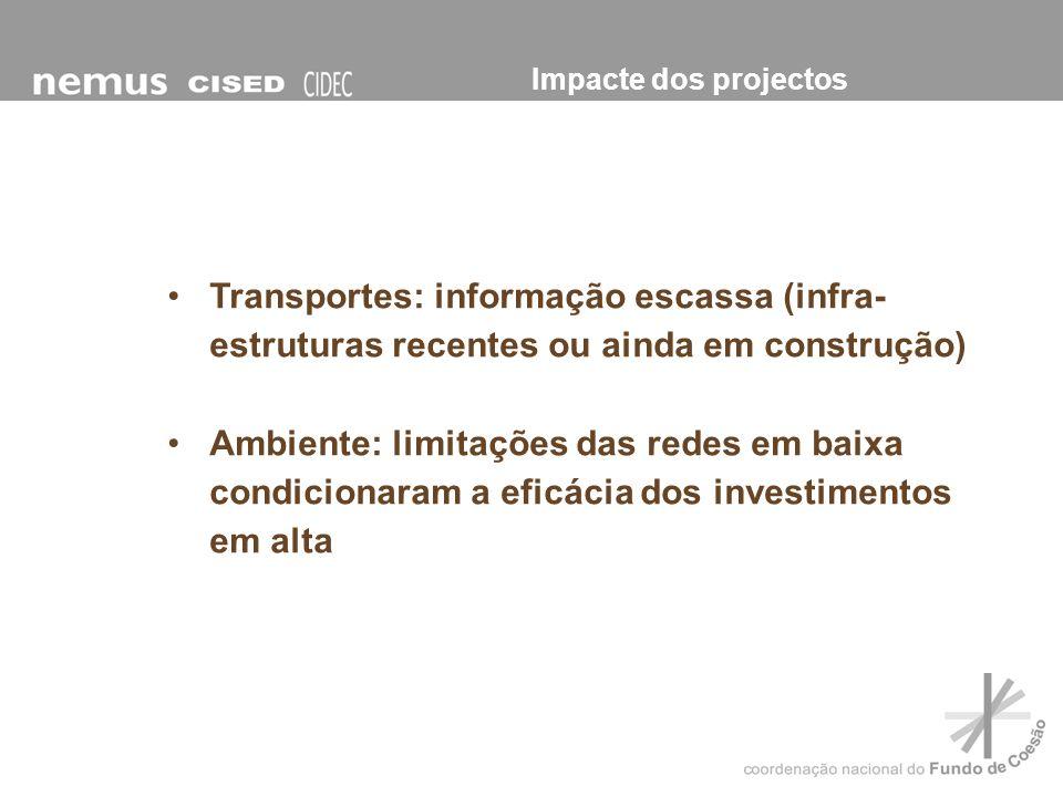 Transportes: informação escassa (infra- estruturas recentes ou ainda em construção) Ambiente: limitações das redes em baixa condicionaram a eficácia d