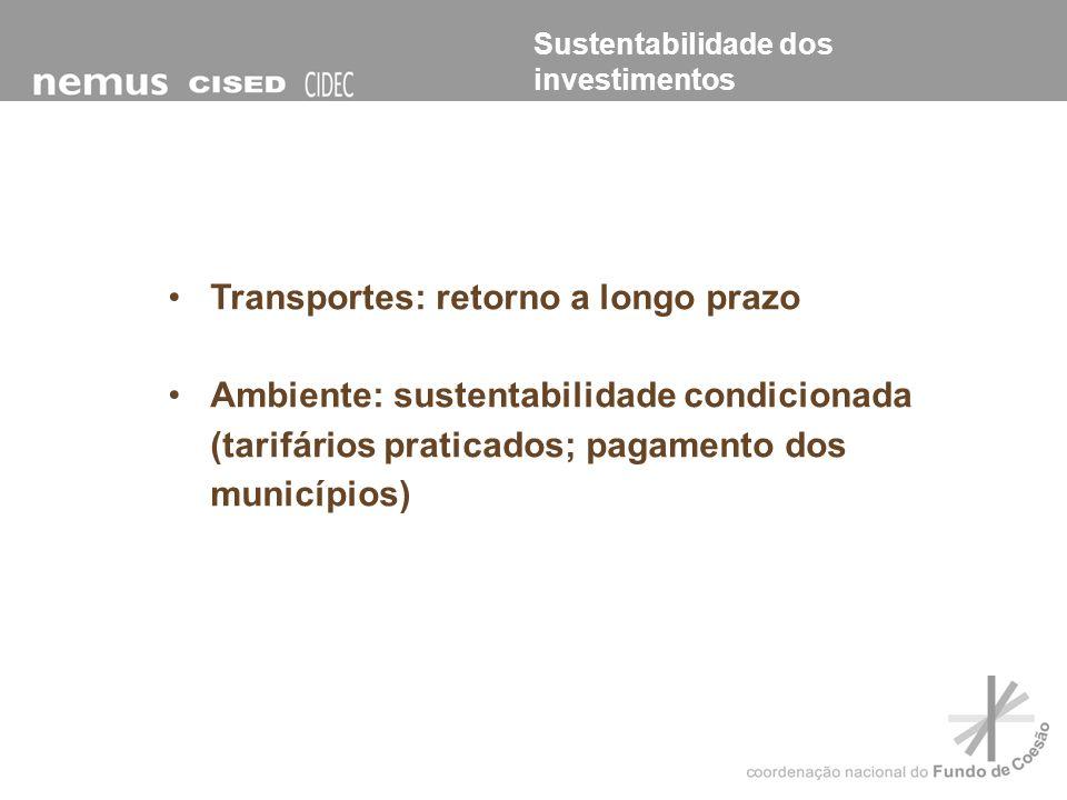 Transportes: retorno a longo prazo Ambiente: sustentabilidade condicionada (tarifários praticados; pagamento dos municípios) Sustentabilidade dos inve