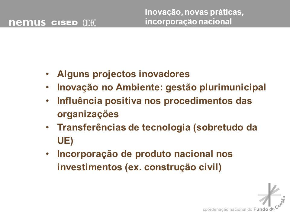 Alguns projectos inovadores Inovação no Ambiente: gestão plurimunicipal Influência positiva nos procedimentos das organizações Transferências de tecno
