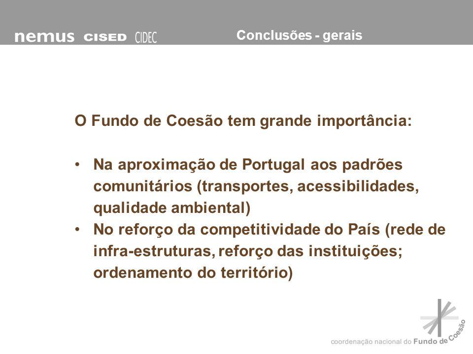 O Fundo de Coesão tem grande importância: Na aproximação de Portugal aos padrões comunitários (transportes, acessibilidades, qualidade ambiental) No r