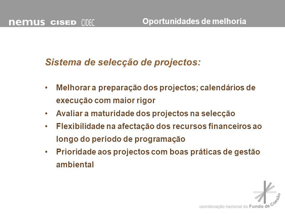 Sistema de selecção de projectos: Melhorar a preparação dos projectos; calendários de execução com maior rigor Avaliar a maturidade dos projectos na s