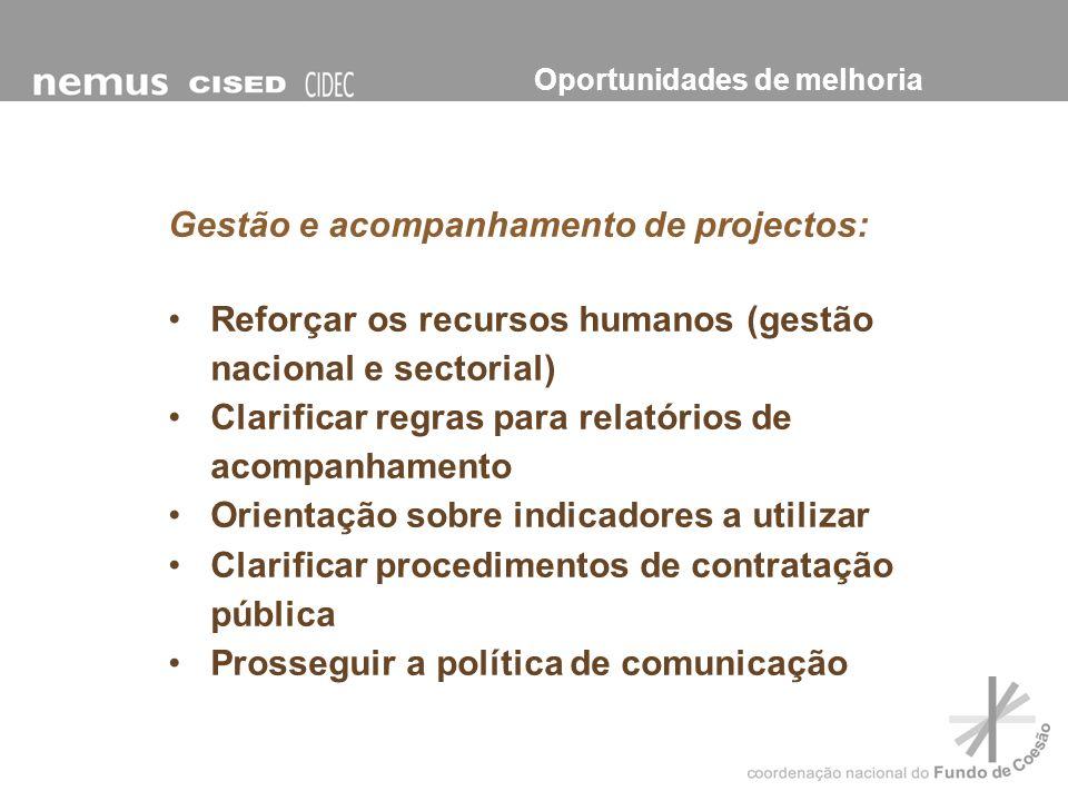 Gestão e acompanhamento de projectos: Reforçar os recursos humanos (gestão nacional e sectorial) Clarificar regras para relatórios de acompanhamento O