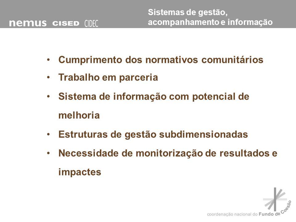 Os investimentos co-financiados pelo FC foram fundamentais para: Coesão económica e social Implementação das políticas sectoriais Melhoria da qualidade de vida das populações Modernização e reforço da competitividade de Portugal Avaliação do valor acrescentado comunitário