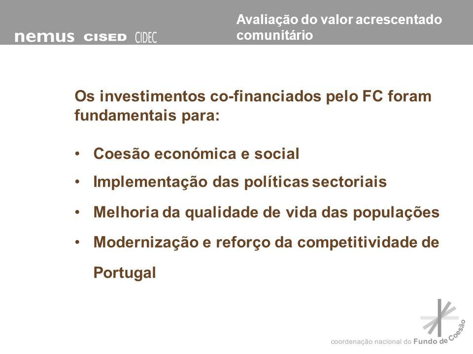 Os investimentos co-financiados pelo FC foram fundamentais para: Coesão económica e social Implementação das políticas sectoriais Melhoria da qualidad